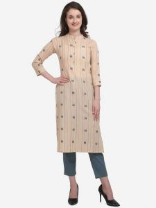 Cotton Blend Fabric Striped Straight Chinese Neck Kurta for Women (Color - Beige)