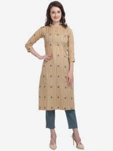Cotton Blend Fabric Striped Straight Chinese Neck Kurta for Women (Color - Gold)