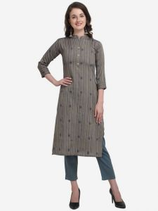 Cotton Blend Fabric Striped Straight Chinese Neck Kurta for Women (Color - Grey)