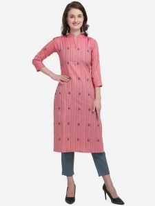 Cotton Blend Fabric Striped Straight Chinese Neck Kurta for Women (Color - Pink)