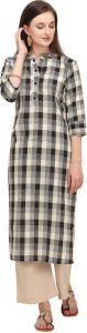 Women Checkered Cotton Blend Fabric Straight Kurta For Casual Wear (Color - Beige)