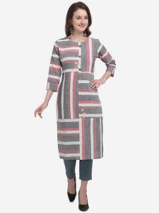 Women Calf Length Striped Cotton Blend Fabric Straight Kurta (Color - Multi-Color)