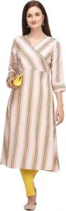 Collared Neck Printed Cotton Blend A-line Kurta For Women (Color - Pink)