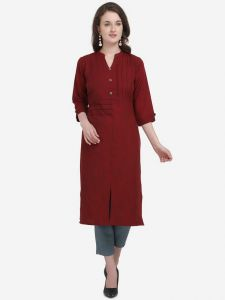 Women Chinese Neck Solid Pattern Cotton Blend Fabric Straight Kurta (Color - Maroon)