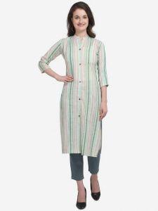 Women Calf Length Striped Cotton Blend Fabric Straight Kurta