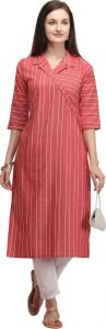 Women Striped Cotton Blend Straight Chinese Neck Kurta (Color - Red)