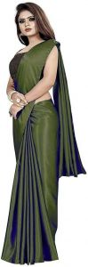 Solid Pattern Bollywood Satin Blend Fabric Saree For Women (Length 5.5m)