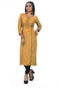 Rayon Fabric Solid Pattern Straight V Neck Kurta For Women