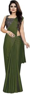 Solid Pattern Bollywood Satin Blend Fabric Saree with Unstitched Blouse For Women
