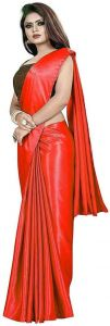 Solid Pattern Bollywood Satin Blend Fabric Saree (Length: 5.5m, Blouse Length: 0.8m)