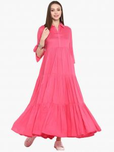 Ankle Length Solid Pattern Rayon Fabric Anarkali Shirt Collar Kurta For Women (Color - Pink)