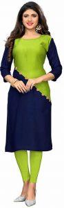 Colorblock Pattern Crepe Fabric A-line Round Neck Kurta For Women (Color-Multi-Color)