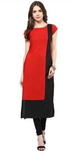 Short Sleeve Colorblock Pattern Rayon Boat  Neck A-line Kurta for Women (Color-Red)