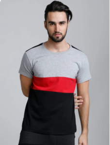 Multicolored Cotton Blend Color blocked Round Neck Half Sleeves Regular Fit Cotton T-Shirt For Men's