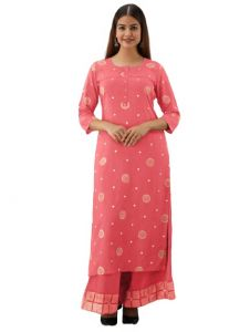Rayon Cotton Fabric Thred Work Straight Kurti with Thred Work Plazzo for Women