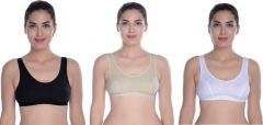 Cotton Blend Sports Seamed Non-Padded Bra For Women (Pack Of 3)