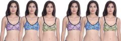 Cotton Blend Full Coverage Non-Padded Regular Bra For Women (Pack Of 6)