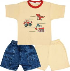SHAURYA INNOVATION Polycotton Printed Party and Festival Wear Jeans, T-Shirt Pant Set For Boy's