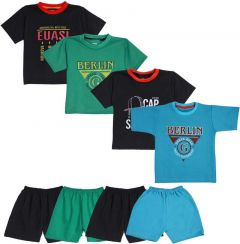 SHAURYA INNOVATION Polycotton Printed T-Shirt and Pant Set For Boy's (Multi-Color) (4 Combo Pack)