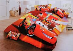 FABRIC EMPIRE Cotton Car Printed Kids Version Comforter Set With 1 Double Bedsheet and 2 Pillow Covers