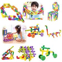 TECHTOY Educational Play and Learn Plastic Building Block Pipes Set For Kids (Multi-Color) (56 Pieces)