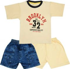 SHAURYA INNOVATION Cotton Printed Party and Festival Wear Jeans, T-Shirt Pant Set For Boy's