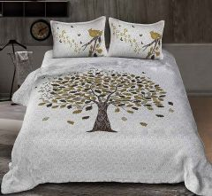 Fabric Empire Tree Printed 1 Bedsheet, 2 Pillow Covers Size 90x108 inch (Pack of 3)