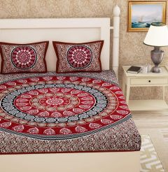 Fabric Empire Cotton Fabric Bedsheet and 2 Cushion Cover Stylish for King Size (Pack of 3)
