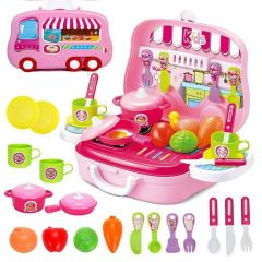 TECHTOY-Little Chef Mini Kitchen Cooking Toy Set For Girls (Multi-Color)
