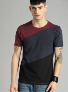 Multicolored Pattern Round Neck Half Sleeves Cotton Tees For Men's