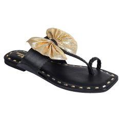 Sakhicollection Casual/Trendy Kolhapuri Comfort Slippers for Women (Black)