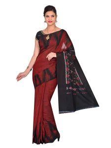 Handloom Cotton Kargil Plain Kumbha Women's Saree Without blouse piece - Maroon