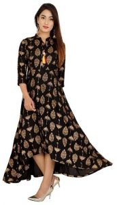 Rayon Fabric Printed Stitched, 3|4 Sleeves, Kurta for Womens (Color-Black)