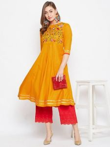 Womens  Stitched Embroidered Viscose Rayon Fabric Straight Kurta (Color:-Yellow)