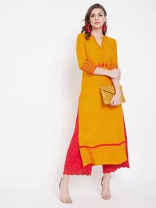 Stitched Embroidered Viscose Rayon Fabric Straight Kurta for Womens (Color:-Yellow)