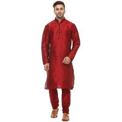 Men's Fashionable and Stylish Solid Silk Long Sleeves Kurta Set For Party & Weddings Wear