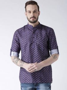 Men's Fashionable and Stylish Cotton Blend Printed Casual Kurta (Multi-Color) (Pack of 1)