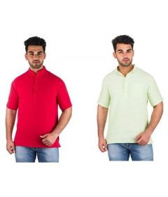 Men's Stylish Half Length Khadi Kurta For Festival & Partywear (Multi-Color) (Pack of 2)