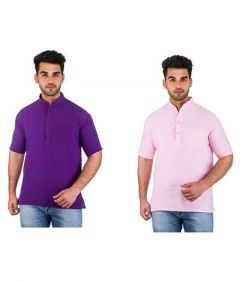 Stylish and Trendy Half Sleeve Khadi Kurta For Men's (Multi-Color) (Pack of 2)