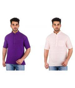 Stylish and Trendy Short Sleeve Khadi Kurta For Men's (Multi-Color) (Pack of 2)