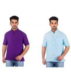 Trendy Short Sleeve Casual & Party Wear Khadi Kurta For Men's (Multi-Color) (Pack of 2)
