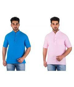 Trendy Short Sleeve Party & Casual Wear Khadi Kurta For Men's (Multi-Color) (Pack of 2)