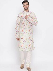 Stylish Cotton Blend Kurta and Pyjama Set For Men's (Cream) (Pack of 1)