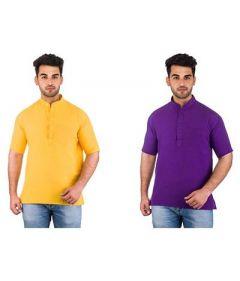 Trendy Half Sleeve Party & Casual Wear Khadi Kurta For Men's (Multi-Color) (Pack of 2)