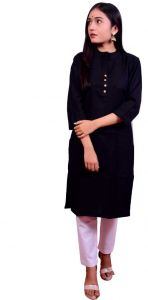 Fearless Fashion Casual Occasion And Regular Fit Solid Cotton Blend A-line Kurta For Women (Pack of 1)