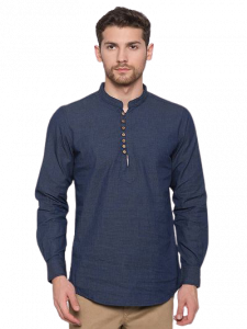 Men's Stylish and Fashionable Slim Fit Cotton Long Sleeves Denim Shirt With Band Collar (Navy Blue)