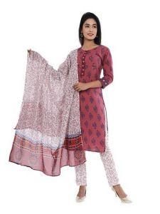 Printed Kurta, Pant & Dupatta of Cotton Fabric for Women, Ladies (Pack of 1)