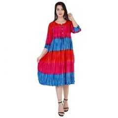 Tie & Dye Flared, 3|S Sleeves, Long Rayon Fabric Stitched Kurta for Womens (Color-Blue,Red)