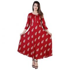 Rayon Fabric, Stitched Printed 3|4 Sleeves Anarkali Flared Kurti for Womens (Color:-Red)