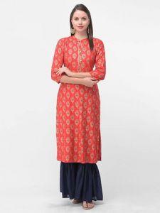Printed, Rayon Fabric 3 S Sleeveless, Ethnic Wear Kurta for Womens (Red)